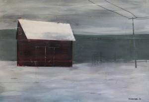 Concklin Barn in Snowstorm